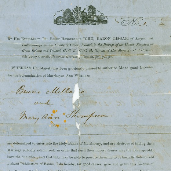 First BC Marriage Licence