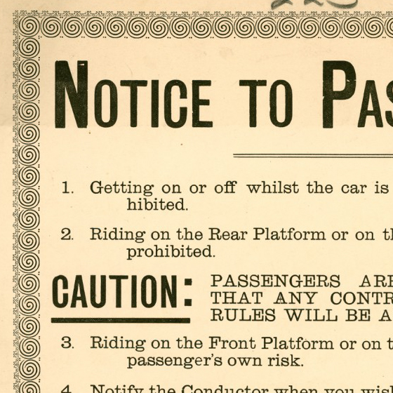 Poster of Streetcar Regulations