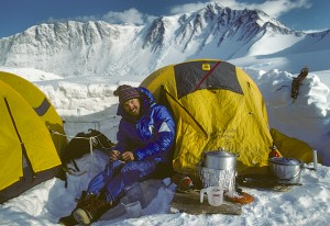 Pat Morrow at base camp of Mt Vinson, Antarctica