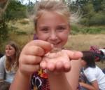 A girl holds a grasshopper at a summer camp