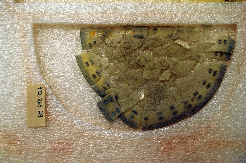 Since its acquisition in 1972, this protractor made of cellulose nitrate has deteriorated emitting acidic fumes that have corroded nearby collections.