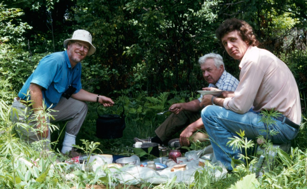 Figure 6. Tea break during collecting near Vladivostok. Me (left), Pavel Lehr (centre) and our driver (right). I've tucked my pant legs into my socks to help prevent tick bites. Some ticks in the region carry viral encephalitis.
