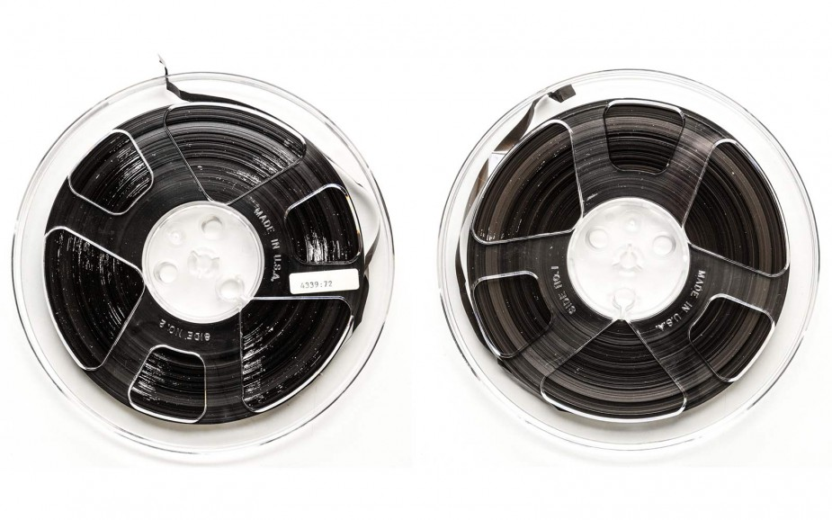 "Some of the Halpern reel-to-reel 1/4"" audio tape suffered from a conservation condition known as ""sticky shed syndrome."""