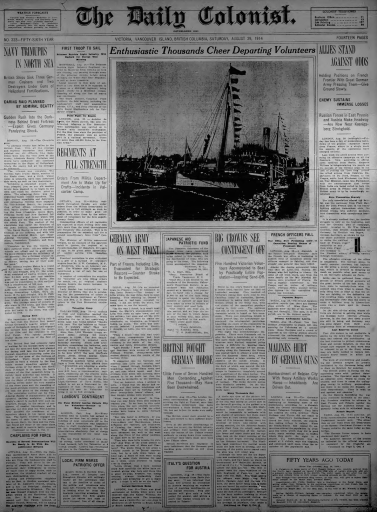 Front page, Daily Colonist, August 29, 1914. The feature article evokes the sounds and scenes of farewell. That day, the entire front page was devoted to war news.