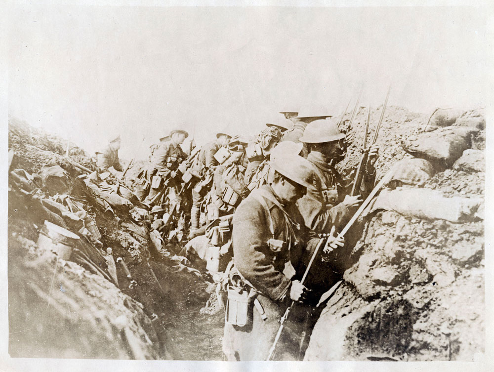"""""""102nd Battalion [British Columbia Regiment, Canadian Expeditionary Force], Courcelette"""" France.  Battle of the Somme. 1916. BC Archives F-00283"""