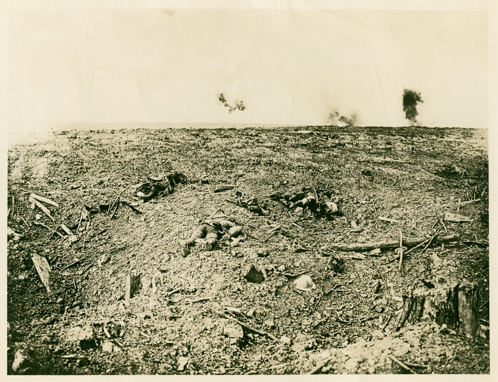 """""""No man's land, Courcelette"""" France. September 16, 1916, the day following a major attack by Canadian troops. BC Archives F-00284"""