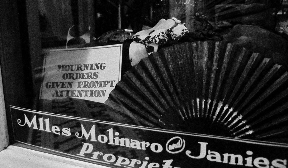 Mourning Orders Given Prompt Attention shop sign in Old Town