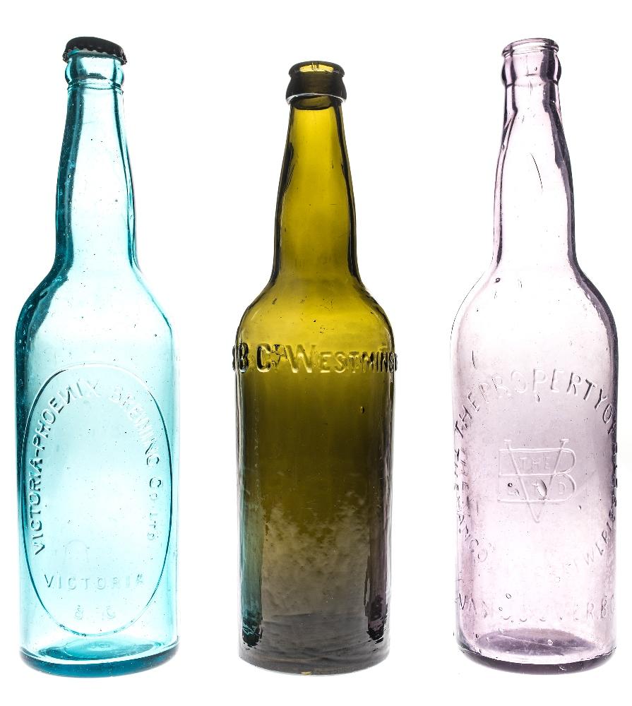 Three coloured bottles